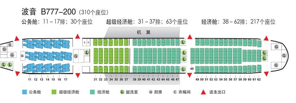 国航波音777座位图 国航波音773座位图 国航波音737中座位图